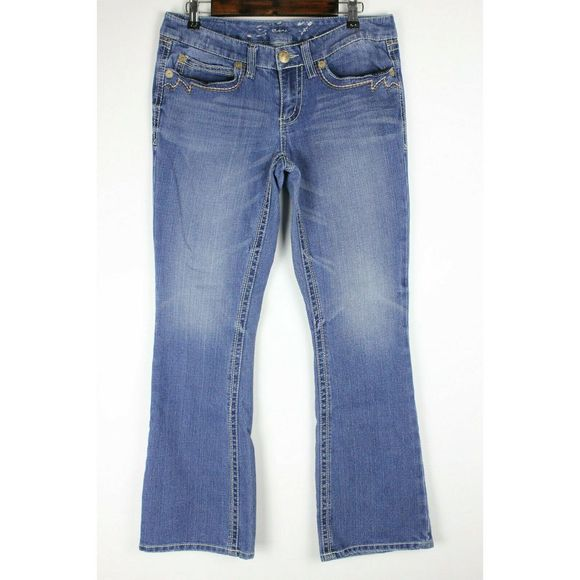 Seven7 Denim - Seven7 Jeans Bootcut Blue Embroidered Flaps